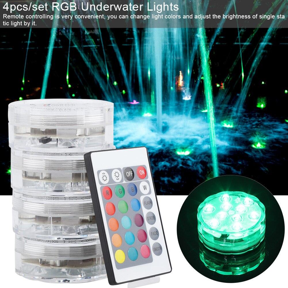 4 Uds luces LED sumergibles RGB luz subacuática impermeable para boda tubo de luz estanque piscina tina de baño acuario decoración de jarrón fiesta