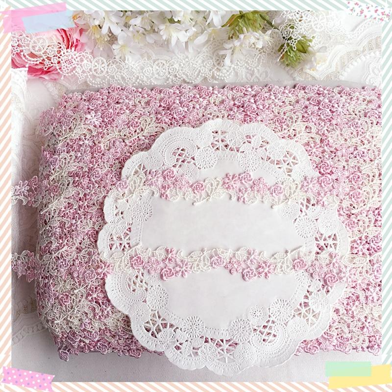 """2,5 cm 0,98 """"de ancho (5 yardas/lote) agua Soluble encaje bordado Ajuste del cordón de Venecia en rosa + marfil precioso encaje"""