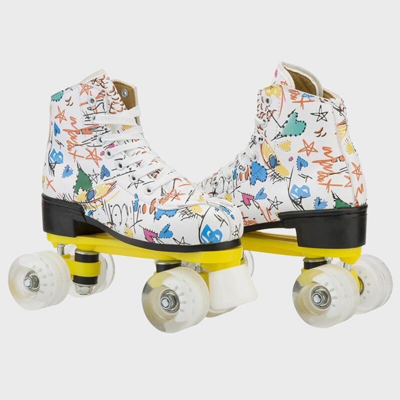 Коньки-ролики с граффити из микрофибры, двойные коньки, женские, мужские, взрослые, двойные коньки, обувь с патиной, с белым Полиуретаном, 4 ко...