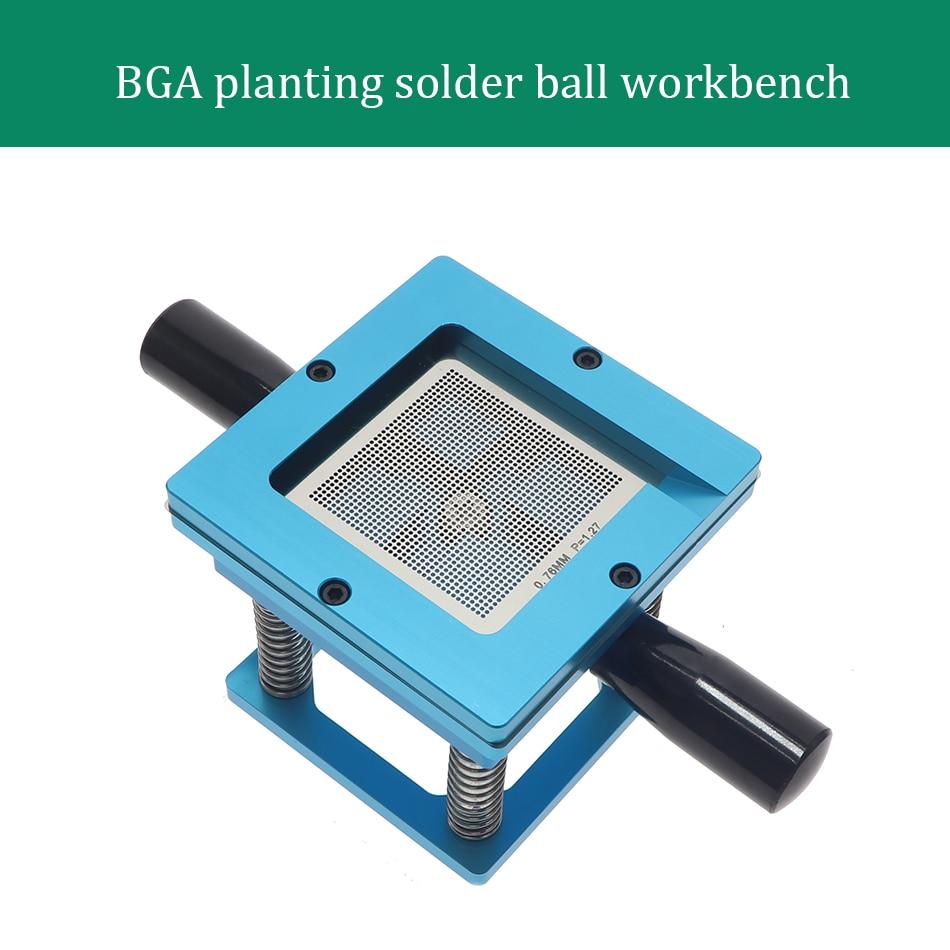 Banco de trabajo de bolas de hojalata con mango azul, mesa de siembra de hojalata GBA 90X90 millones de malla de acero, juego de plantación de bolas de hojalata