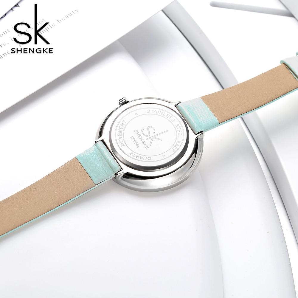 SHENGKE Fashion Blue Minimalist Women's Watches Luxury SK Watch Dresses Quartz Watches Leather Ladies Watch Clock Reloj Mujer enlarge