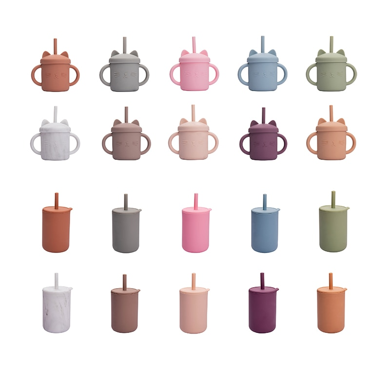 Baby Silicone Water Cup Feeding CupBaby Drinking Straw Cup Tall Cup BPA Free Silicone Cup 10 Color Cute Cat Silicone Cup