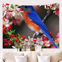 hawkalice birds tapestry robin birds wall tapestry titmouse tapestry nature landscape hippie wall hanging for room 90x59 inches