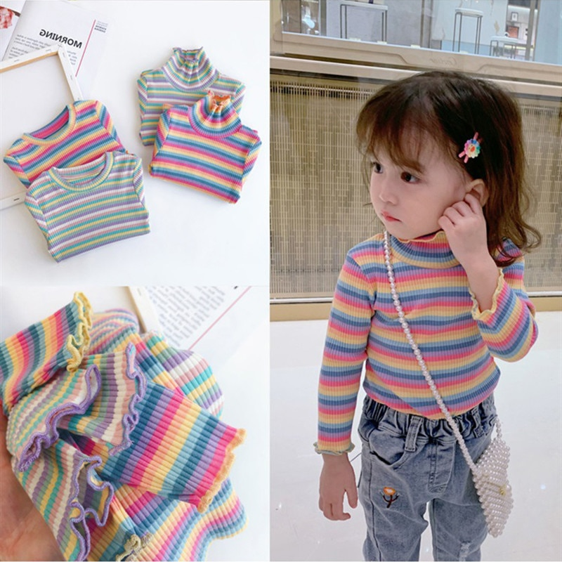 2020 nova primavera item menina casual listra camiseta arco-íris
