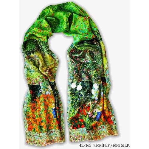 جلاجا-وشاح حريري بورسا للنساء ، رقعة ملفتة للنظر ، حجاب عصري ، أخضر ، صنع في تركيا ، 100% × 45 سم ، 165
