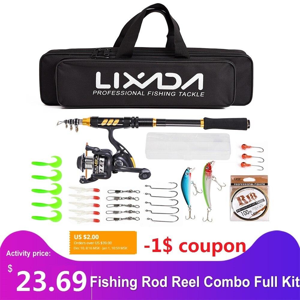 Lixada Telescopic Fishing Rod Reel Combo Full Kit Spinning Fishing Reel Gear Fishing Line Lure Bag Hook Carp Fishing