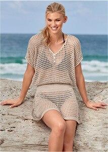 Beach Blouse Mesh Hollow Knitted Beach Holiday Bikini Outer Blouse Plus Size Summer Dress Cover Up Beach Woman Beach Dress