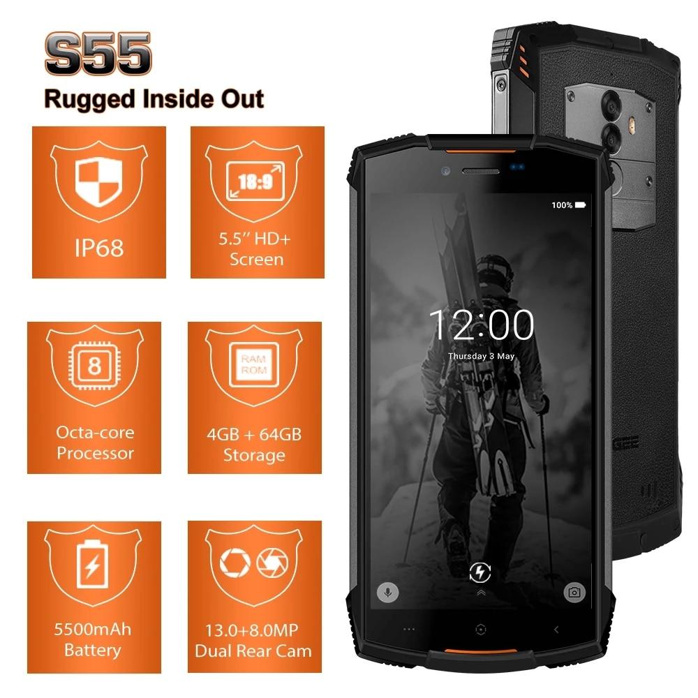 DOOGEE S55 Rugged Smartphone Real IP68 waterproof 4GB RAM 64GB ROM 5500mAh Dustproof 5.5 Inch Dual SIM Mobile Phone