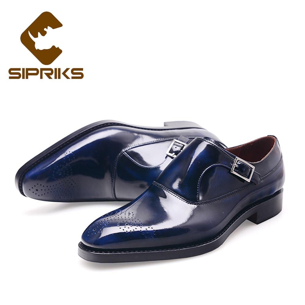 SIPRIKS-أحذية جلدية براءات الاختراع للرجال ، بدلة سهرة فاخرة ، حزام مونك واحد ، أزرق كحلي ، جوديير