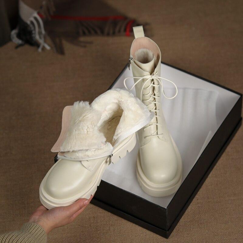 أحذية نسائية من الجلد الطبيعي ، أحذية شتوية بنمط عسكري غير رسمي