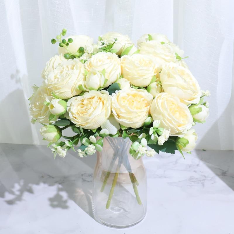 Ramo de flores artificiales de seda, peonías, rosas bonitas, pequeñas, blancas, decoración para fiesta en casa, bodas, Invierno