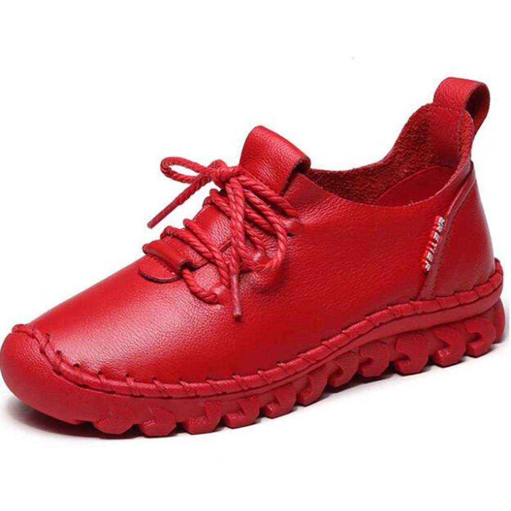 Fashion New Women Shoes Genuine Leather Women's Shoe Lace-Up Female Flats Round head Women single shoes zapatos de mujer hy839