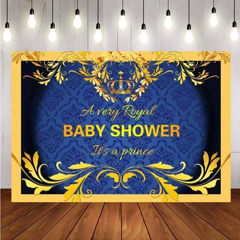 Crown Backdrop Prince Baby Shower Happy Birthday Party Flower Photography Background For Photo Studio Banner Decorations mehofoto baby shower photo backdrop for photography little princess newborn flower background gold crown birthday party booth