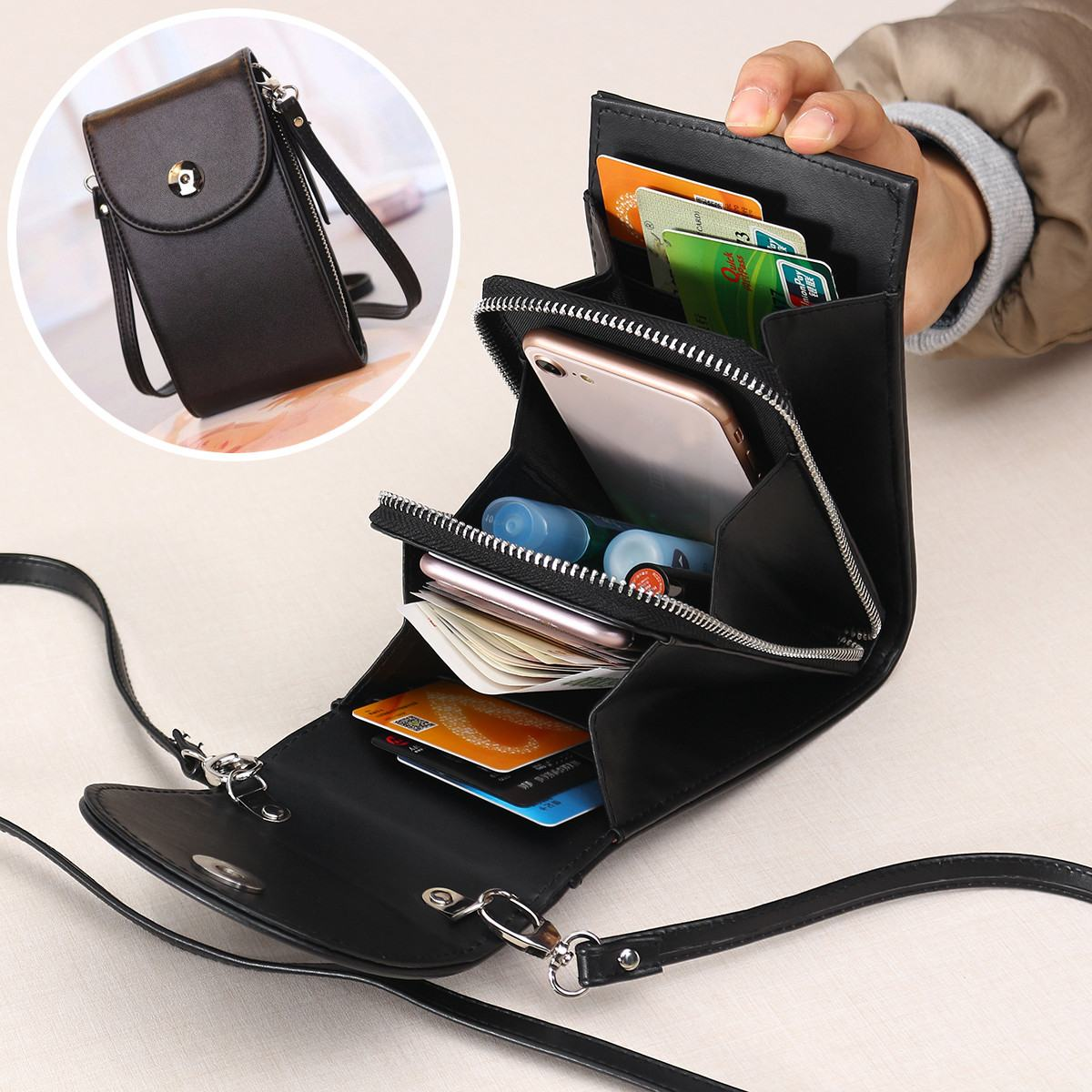 3 Layers Big Capacity Lady Shoulder Bag Leather Wallet Daily Shopping Phone Wallet Mini Crossbody Purse Women Girls Gift