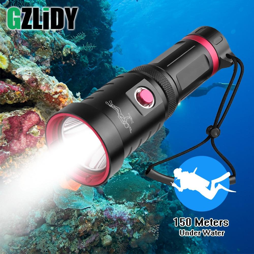 مصباح غوص LED احترافي ، مصباح غوص فائق السطوع P70.2 ، 150 متر ، مقاوم للماء ، 26650/18650