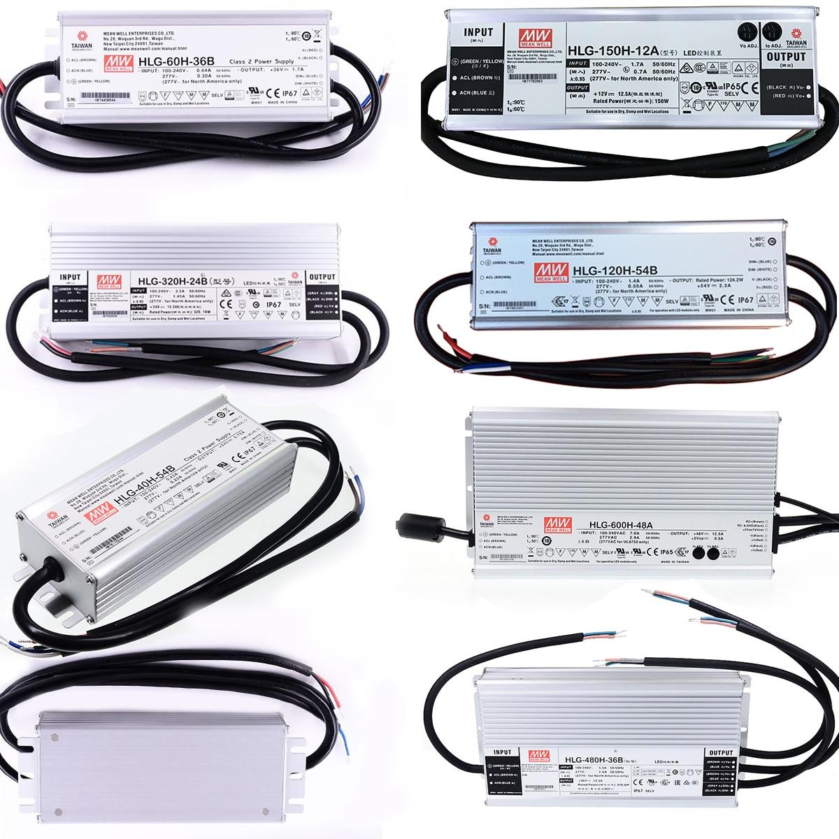 HLG-40H/60H/80H/100H/120H acdc 12/15/20/24/30/36/42/48/54V Meanwell Controlador led cuadrado/LED/crece la iluminación