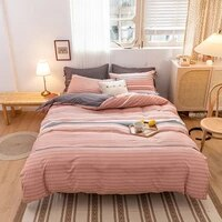 4pcs grey pink color soft bedding set winter easy care duvet cover flat sheet pillowcase full twin king queen size bedding set