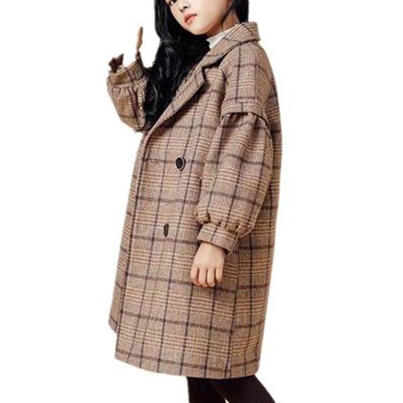 4 6 8 10 12 Years Children Girls Khaki Trench Outerwear Winter Girls Thicken Plaid Jackets Woolen Long Parka Teenager Warm Coat enlarge