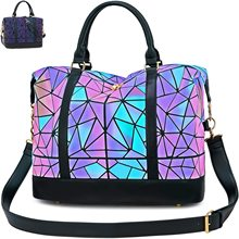 Stylish Geometric Luminous Tote Shoulder Bag Top Handle Handbag Purses Overnight Travel Weekender Ba