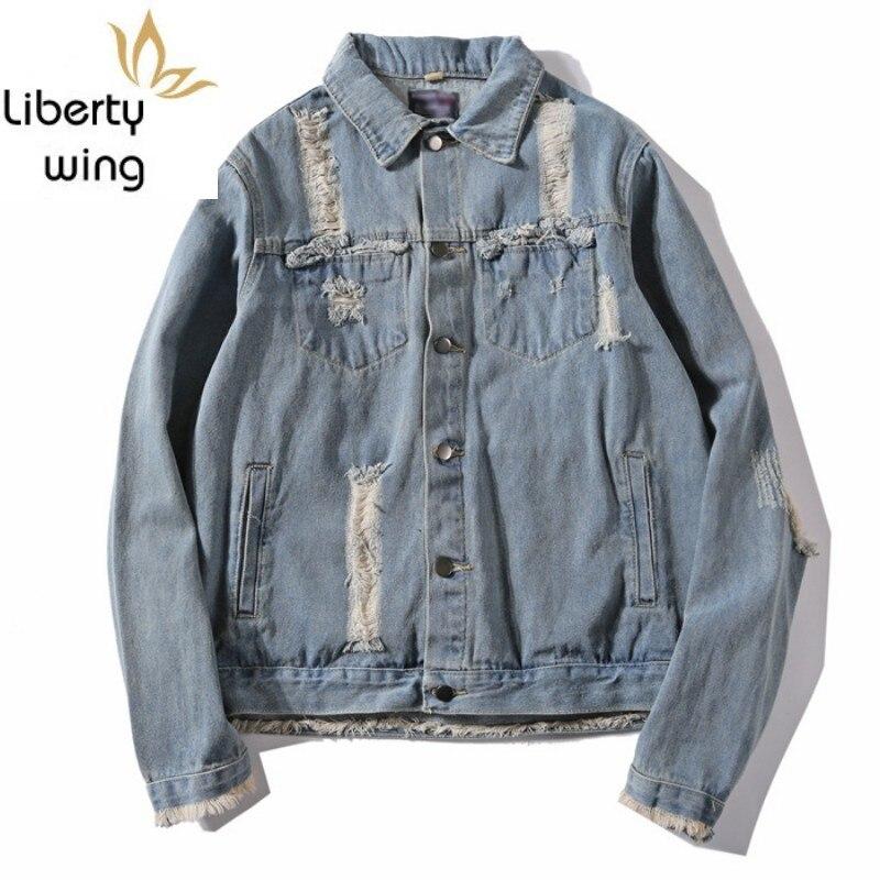 Moda flecos deshilachados Hip Hop Jeans abrigos hombres Gold Wing bordado Denim chaqueta rasgada agujero Cowboy chaquetas Streetwear masculino nuevo