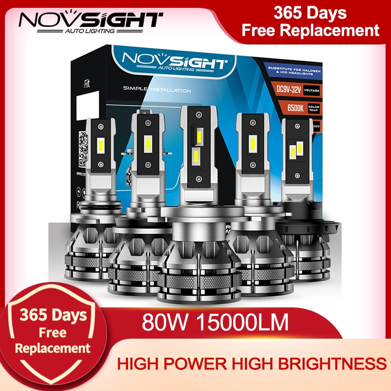 NOVSIGHT سيارة المصابيح الأمامية Led H7 H4 H1 H3 H11 H13 9005 9006 9007 مصغرة حجم فك سيارة ضوء 80W 15000LM 6500K السيارات كشافات