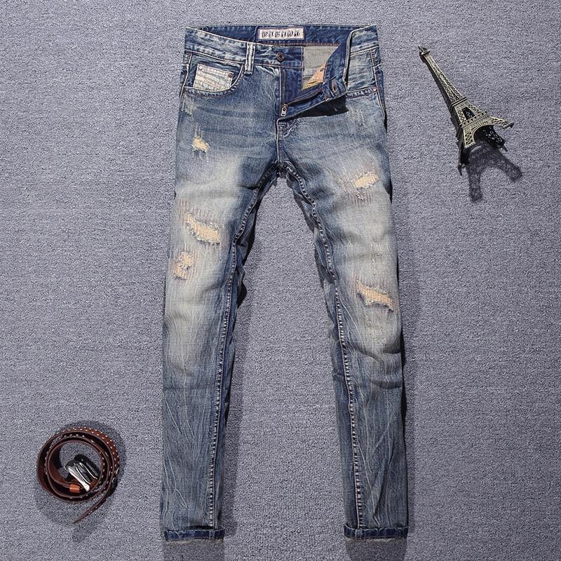 Европейские винтажные модные мужские джинсы в стиле ретро, потертые рваные зауженные джинсы, мужские рваные джинсы в стиле пэчворк, дизайне...