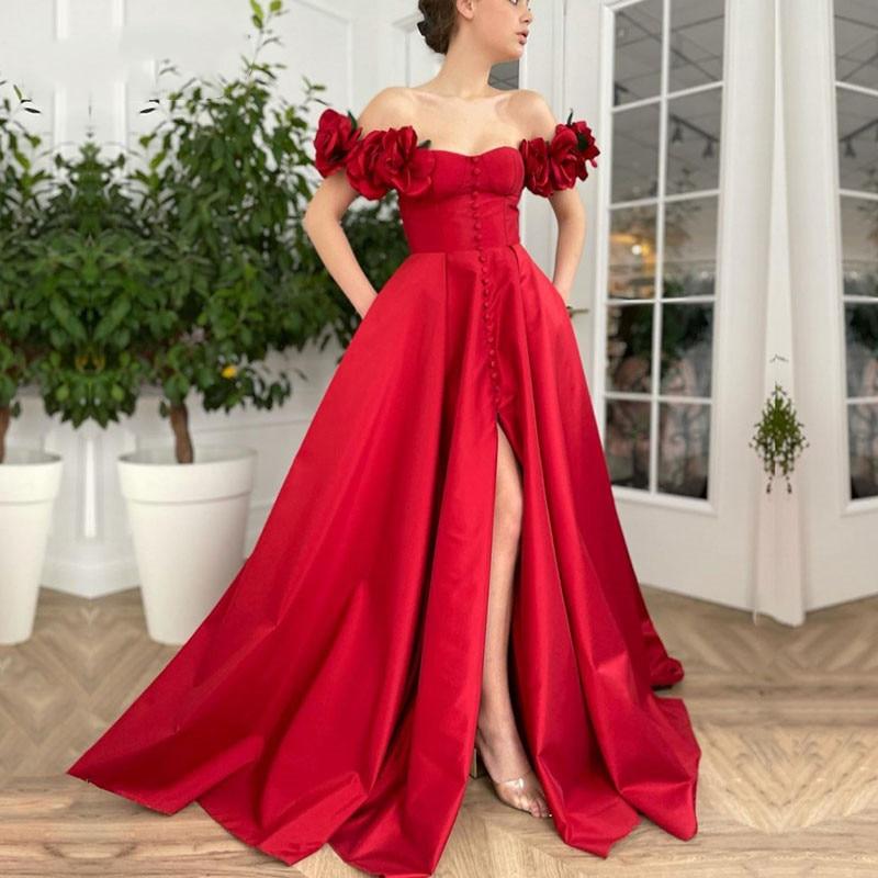 Vestido de noche Simple y Sexy, rojo con hombros descubiertos 3D, hecho a mano, flores, para baile de graduación, botones, satén, boda, fiesta de celebridades, barato