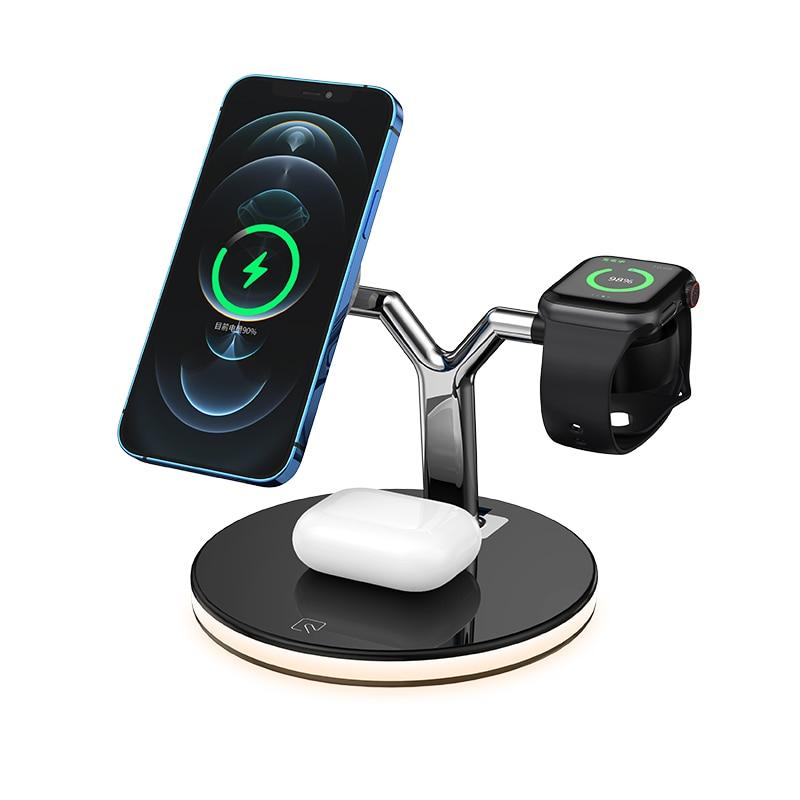 15 واط سطح المكتب حامل المغناطيسي شاحن لاسلكي حوض آيفون 12Pro ماكس 11 iPhone 12 12Pro 11Pro XS Max XR 12Mini 8Plus X Apple Watch 6 5 4 3 Iwatch AirPods Pro Samsung XIAOMI ماكس أبل ساعة 6 سريع ت...