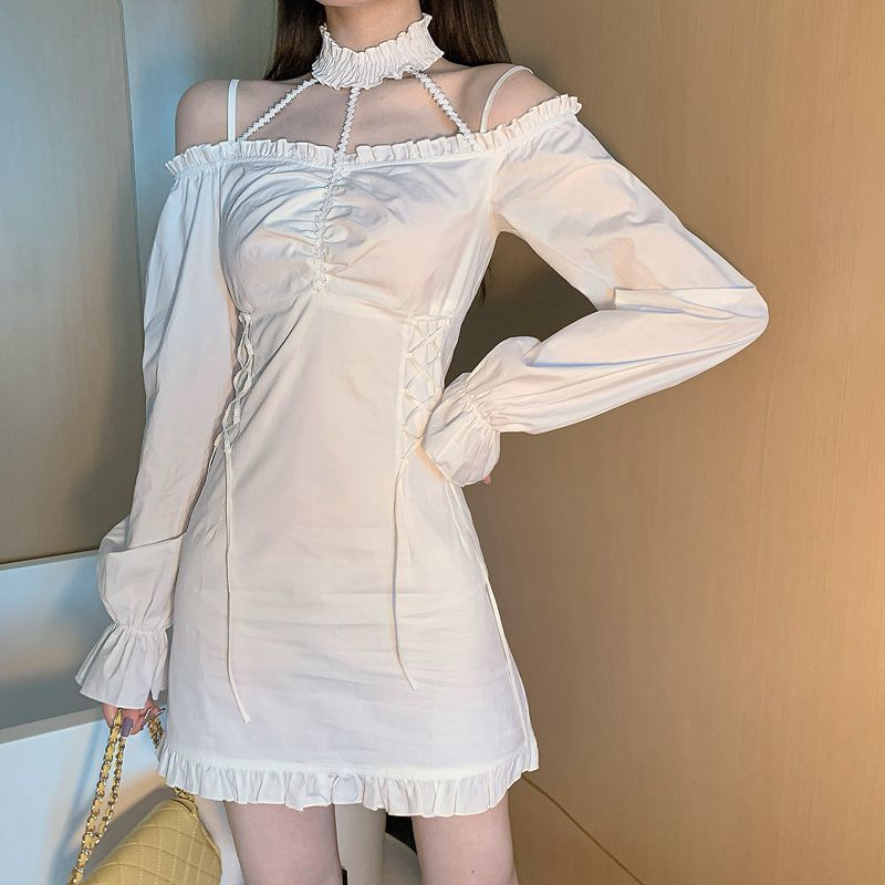 Women Dress Sweet Halter Vintage Hollow Out Cute Ruffles Autumn  Lace Up Sexy Long Sleeve Shirt Top Blusas