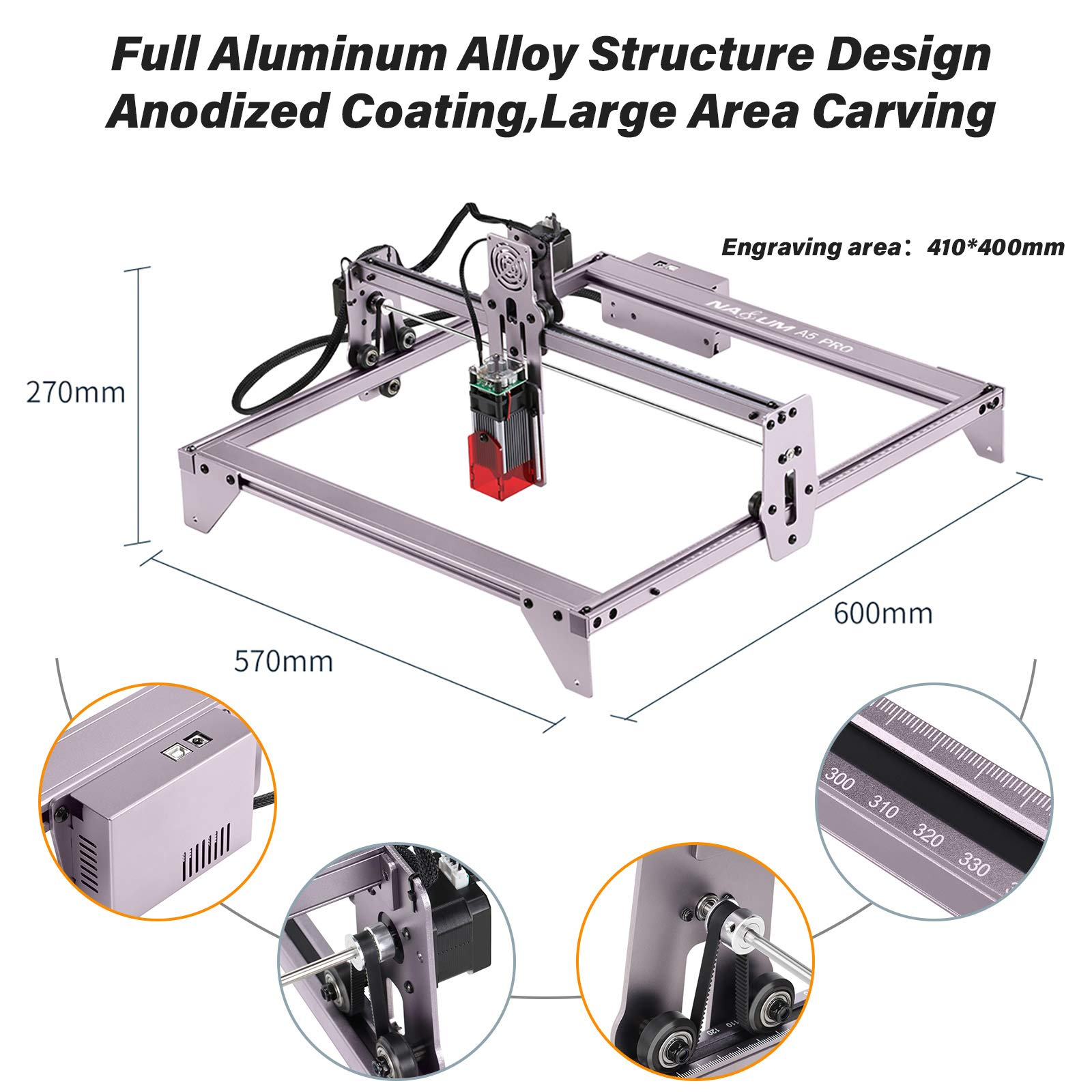 ATOMSTACK A5 PRO+ Roller Laser Engraving Machines Cutting Wood Stainless Steel Acrylic PVC R3 40w Air Cooling 5000mm/Min 12V 5A enlarge