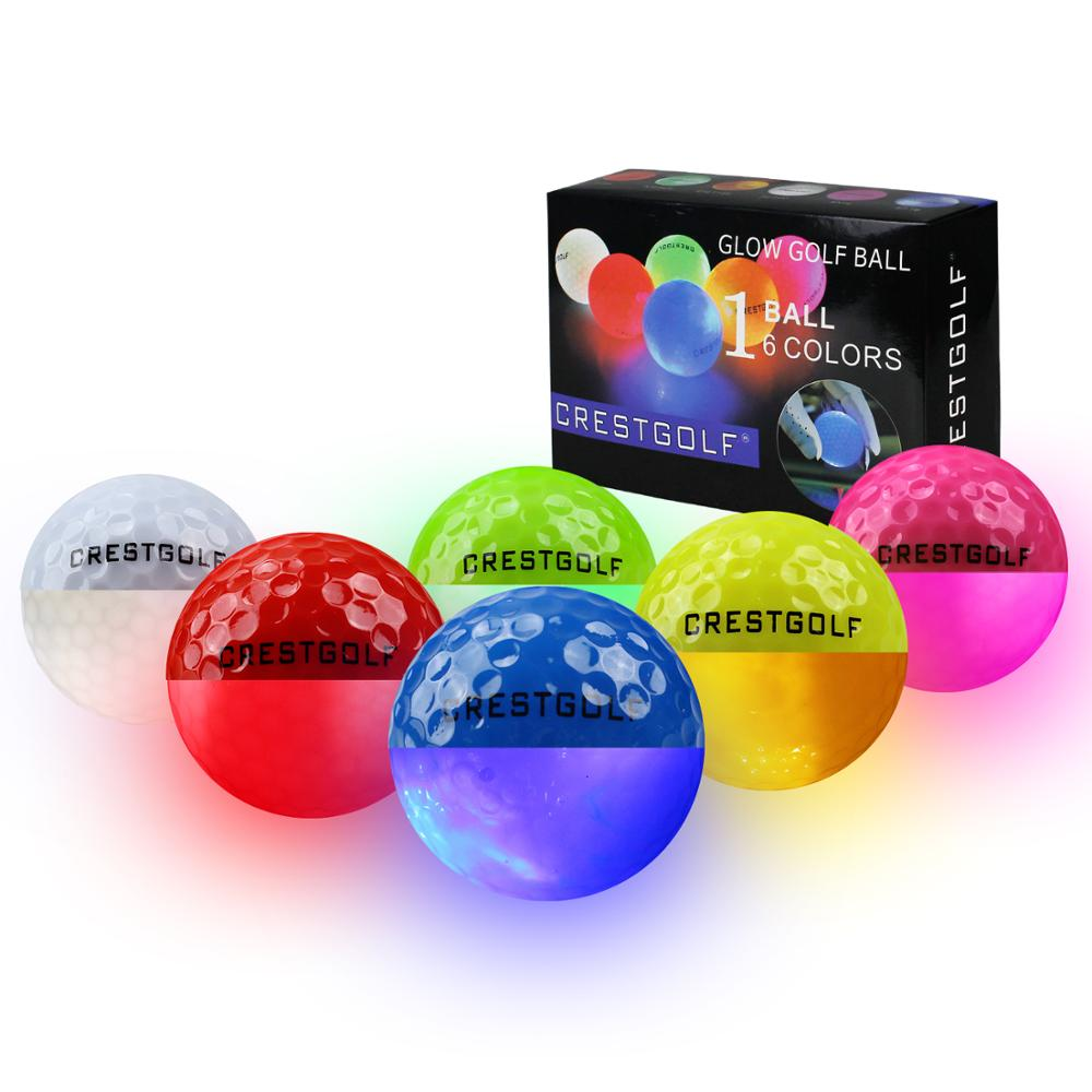 Crestgolf 6Pcs Practice Light Up LED Golf Balls Glow In The Dark Night Supplies Accessories Gift