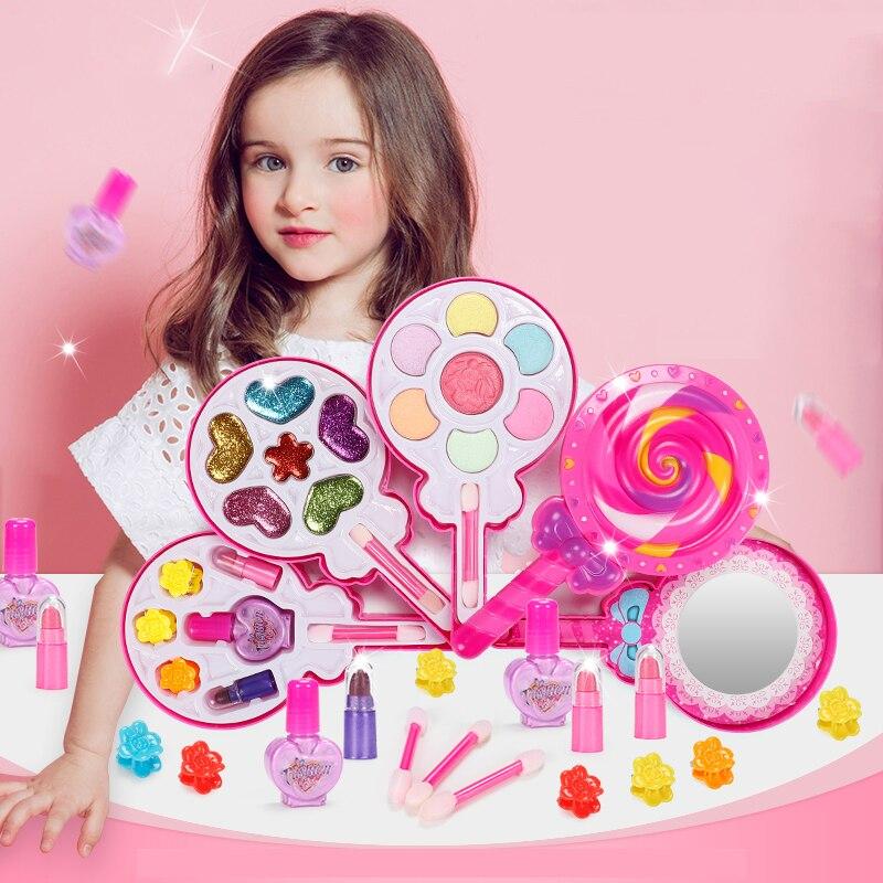 Juego de maquillaje para niñas, herramientas de maquillaje de belleza, juguetes para juego de diamantes de imitación seguro, apósito no tóxico, regalos de esmalte de uñas cosmético
