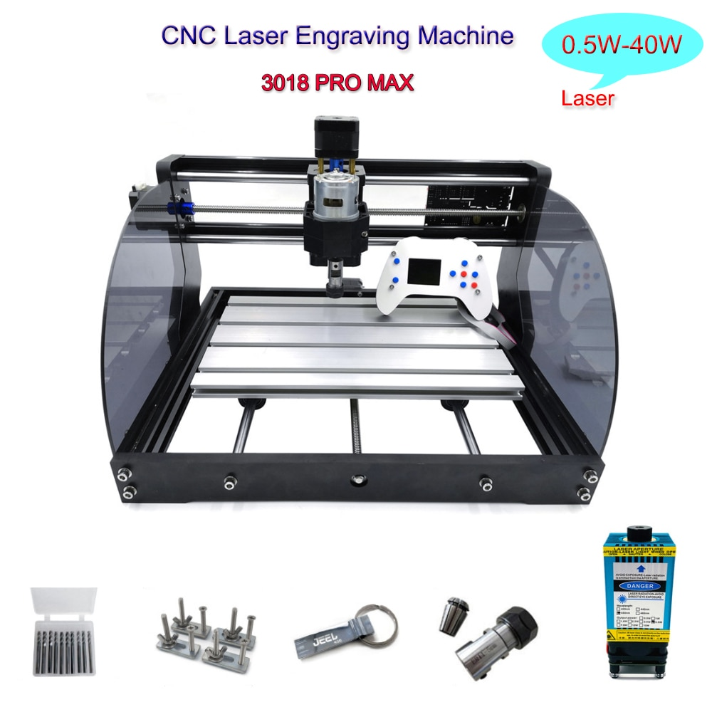 CNC 3018 Pro Max Laser Engraving Machine 0.5W-40W Laser 300W Spindle Wood Router GRBL Er11 3 Axis Milling Laser Engraving Machi