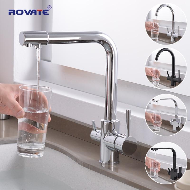 ROVATE مياه الشرب صنبور المطبخ ، 3 في 1 بالوعة المطبخ صنبور ، صنبور تصفية المياه ، الباردة والساخنة بار صنبور تصفية المياه