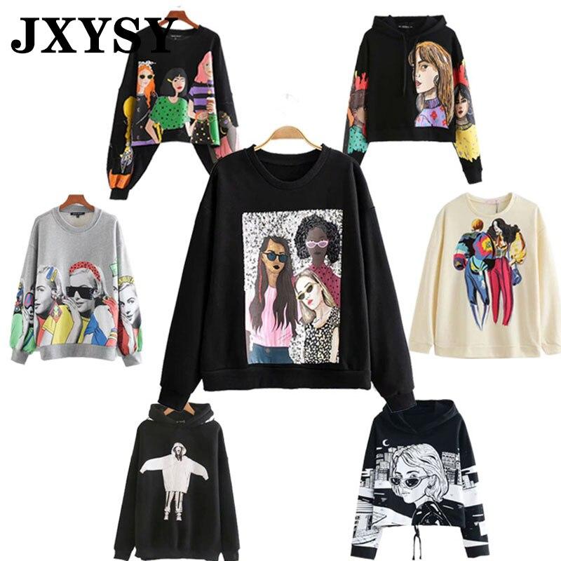 JXYSY 2020 Hoodies Women Sweatshirt Black Pink Cartoon Girl Print Hooded Loose Casual Famale Sweatshirt Women Pullovers Top