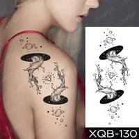 tatu waterproof temporary tattoo sticker transferable space black hole planet diamond tatto shoulder back man woman glitter tato