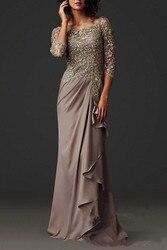 Vestido novia 2018 modesto vestido de noite elegante renda formal árabe vestidos de festa com mangas compridas mãe dos vestidos de noiva