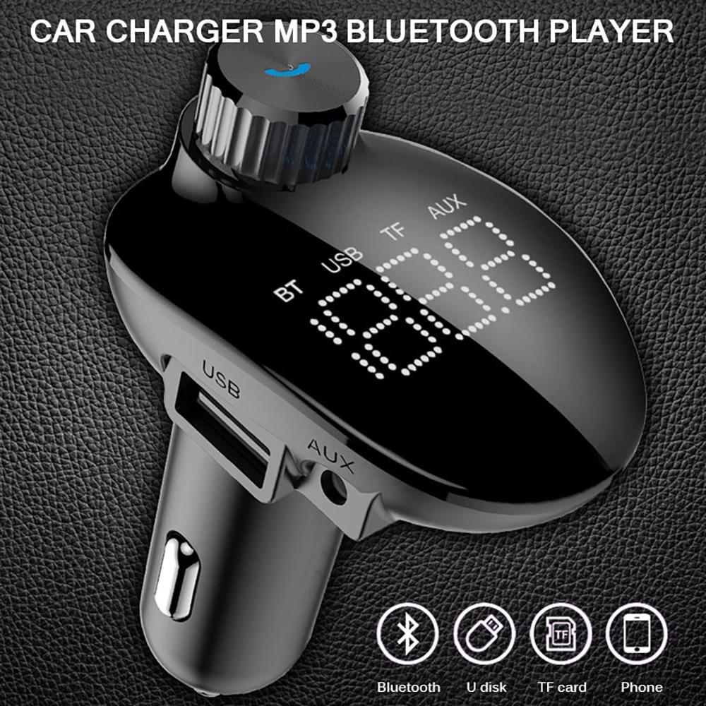 Carro mp3 player fm transmissor modulador sem fio bluetooth 5.0 aux mp3 duplo usb carregador hands-free lcd tela adaptador de carro