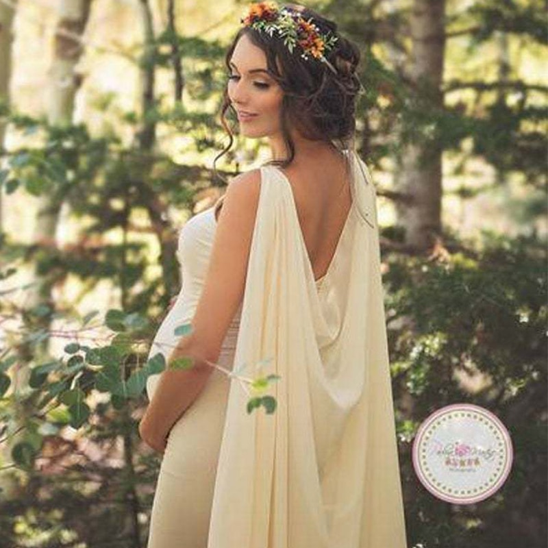 Maternity Dresses Elegant Women Pregnants Photography Props Off Shoulder Sleeveless Solid Dress Robe Fluttering Cloak