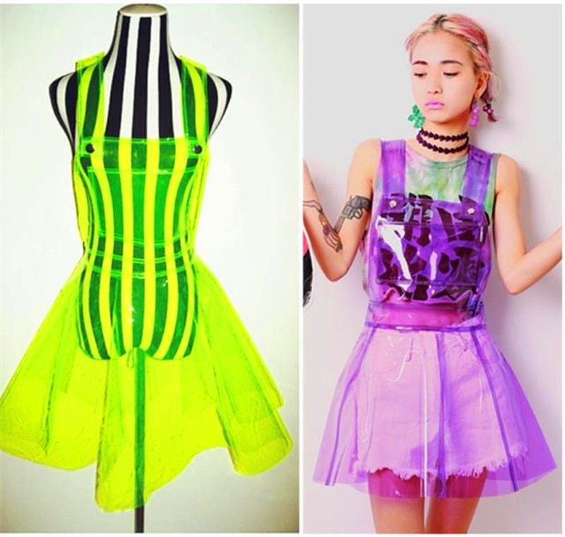 Female Singer Ds Costume Transparent Plastic Expansion Bottom PVC Dress Vestido Summer Women Clear Vinly