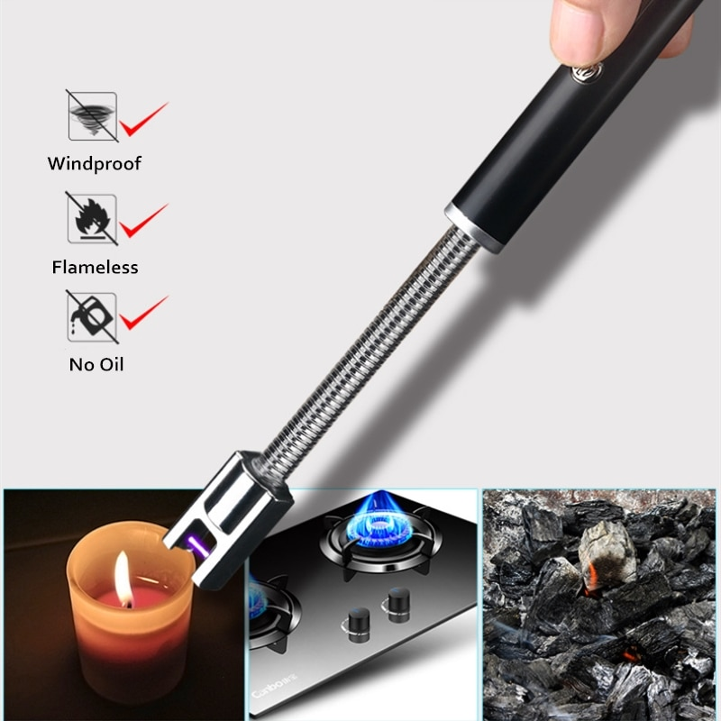 Encendedor de arco a prueba de viento Flexible de 360 grados encendedor de cigarrillos encendedor de Plasma eléctrico USB aparatos de cocina para regalo de mujer