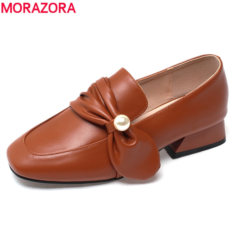 MORAZORA de talla grande 34-43 nuevos zapatos de mujer con pajarita zapatos de tacón alto cuadrados para mujer zapatos de punta redonda zapatos de primavera verano para mujer