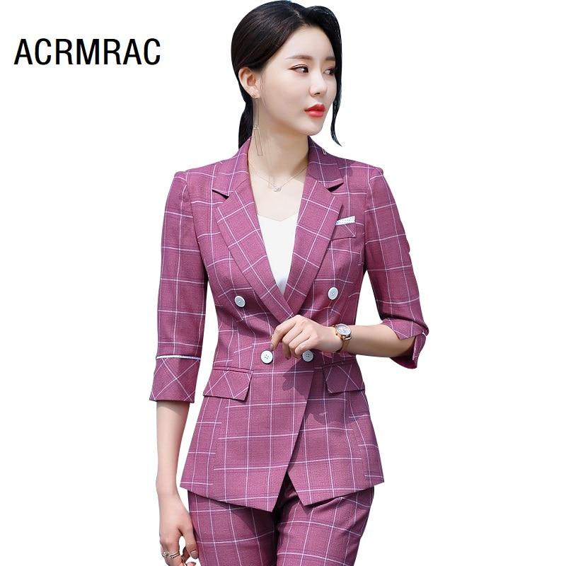 women suits summer Half sleeve plaid blazers pants Office Lady Formal Work clothes women pants suits woman set suits 9888