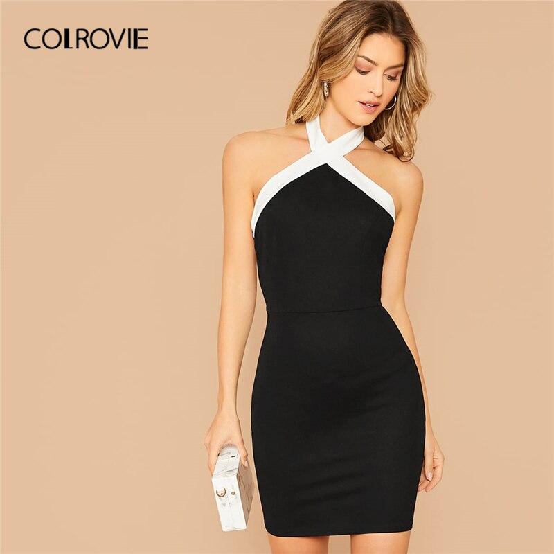 Colrovie preto contraste halterneck bodycon vestido feminino sem mangas sexy sem costas mini vestido 2020 magro elegante lápis vestidos