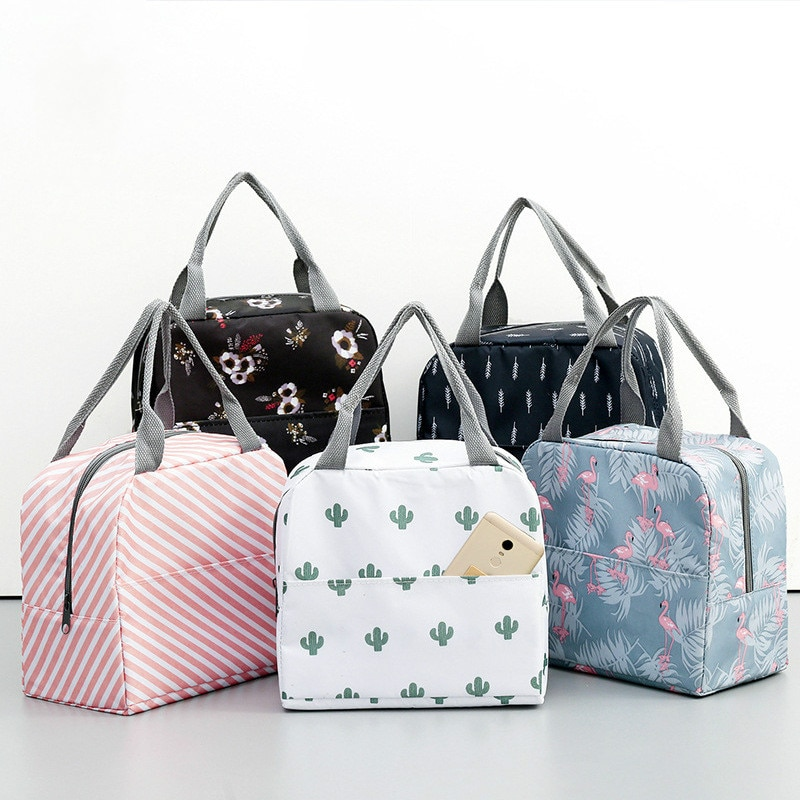 Functional Pattern Cooler Lunch Box Portable Insulated Canvas Lunch Bag handbag  Thermal Food Picnic Lunch Bags For Women Kids