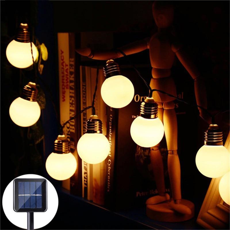 3.5m/5m 10/20led lâmpada solar luz da corda à prova dwaterproof água casa jardim pátio restaurante varanda iluminação decorativa