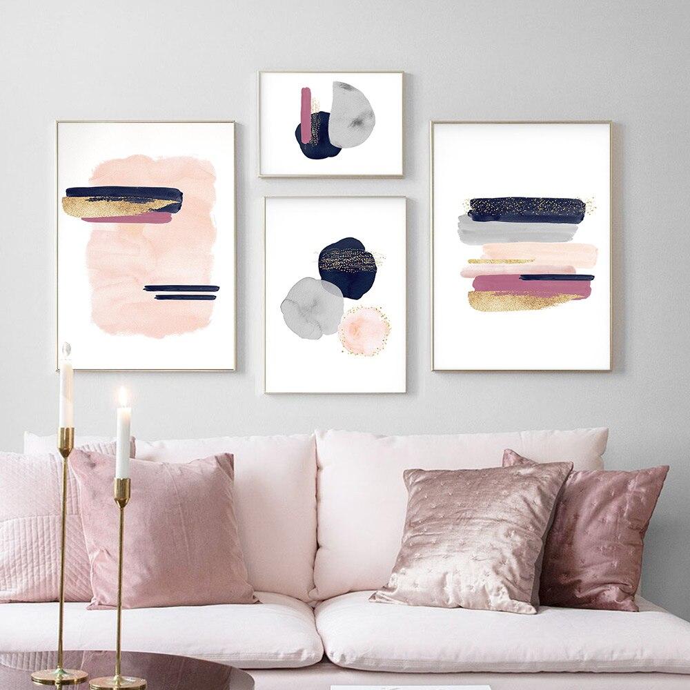 Lienzo de color rosa, dorado, amarillo, pintura para pared, arte geométrico, póster nórdico abstracto, cuadros de pared para decoración de pared de habitación de niña