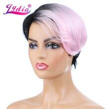 Lydia-perruques synthétiques courtes et lisses   Perruques afro-américaines, couleurs naturelles mélangées FT1B/rose, 8 pouces, pour femmes