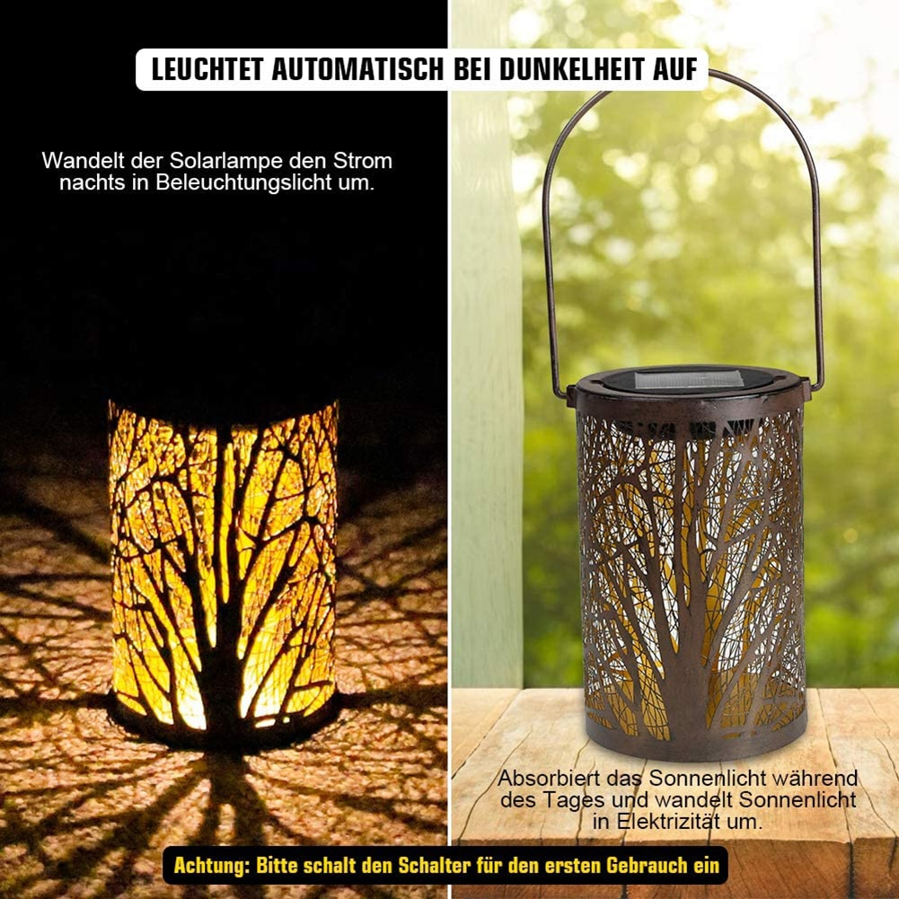 VKTECH полый кленовый лист, Солнечный СВЕТОДИОДНЫЙ светильник-фонарь, водонепроницаемая наружная Подвесная лампа для дерева, для сада, двора, ...