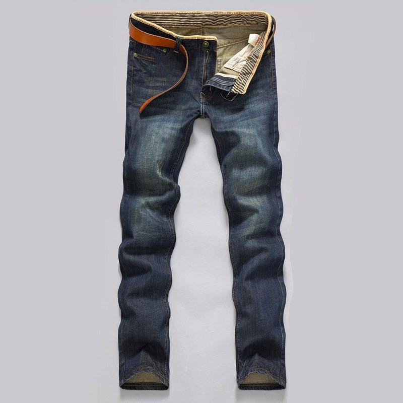 Pantalones vaqueros clsicos de tiro medio para hombre... pantaln largo... holgado... recto......